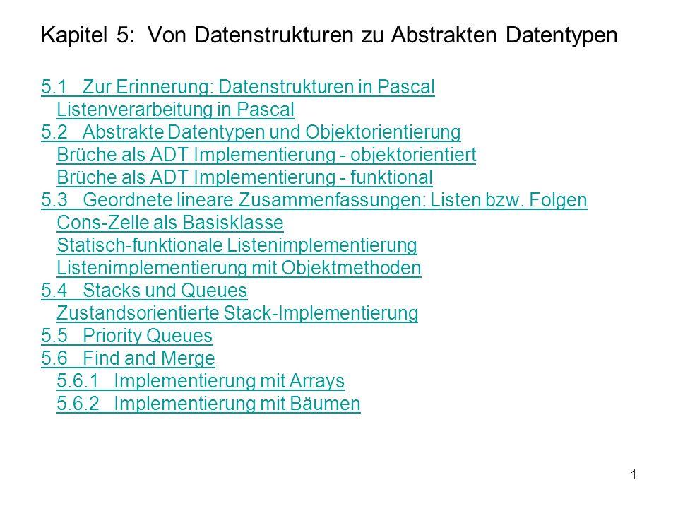 1 Kapitel 5: Von Datenstrukturen zu Abstrakten Datentypen 5.1 Zur Erinnerung: Datenstrukturen in Pascal Listenverarbeitung in Pascal 5.2 Abstrakte Dat