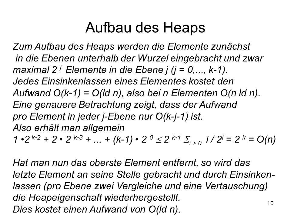 10 Aufbau des Heaps Zum Aufbau des Heaps werden die Elemente zunächst in die Ebenen unterhalb der Wurzel eingebracht und zwar maximal 2 j Elemente in