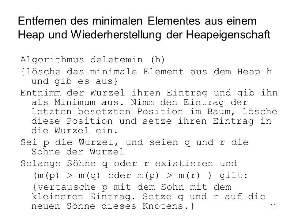 11 Entfernen des minimalen Elementes aus einem Heap und Wiederherstellung der Heapeigenschaft Algorithmus deletemin (h) {lösche das minimale Element a