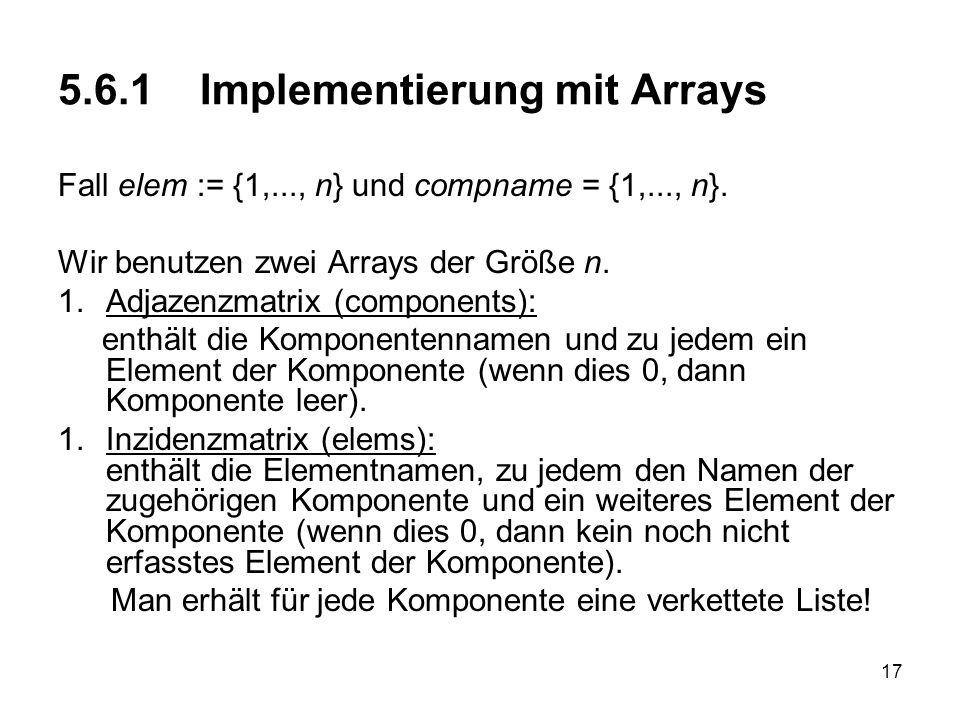 17 5.6.1 Implementierung mit Arrays Fall elem := {1,..., n} und compname = {1,..., n}. Wir benutzen zwei Arrays der Größe n. 1.Adjazenzmatrix (compone