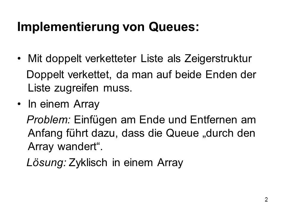 2 Implementierung von Queues: Mit doppelt verketteter Liste als Zeigerstruktur Doppelt verkettet, da man auf beide Enden der Liste zugreifen muss. In