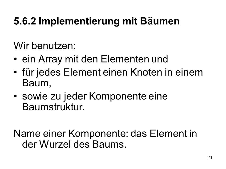 21 5.6.2 Implementierung mit Bäumen Wir benutzen: ein Array mit den Elementen und für jedes Element einen Knoten in einem Baum, sowie zu jeder Kompone