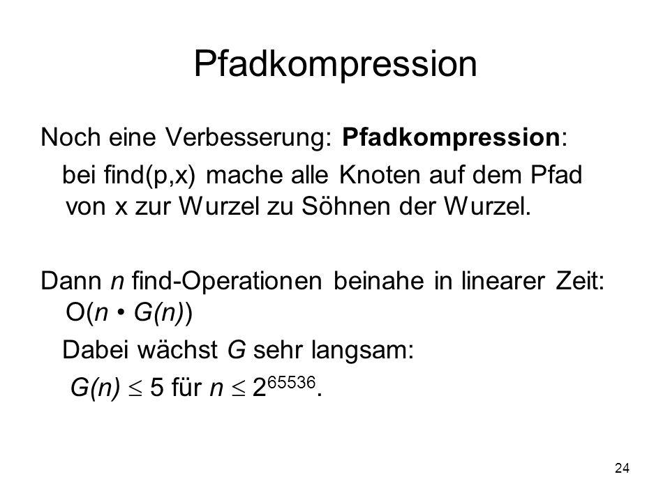 24 Pfadkompression Noch eine Verbesserung: Pfadkompression: bei find(p,x) mache alle Knoten auf dem Pfad von x zur Wurzel zu Söhnen der Wurzel. Dann n