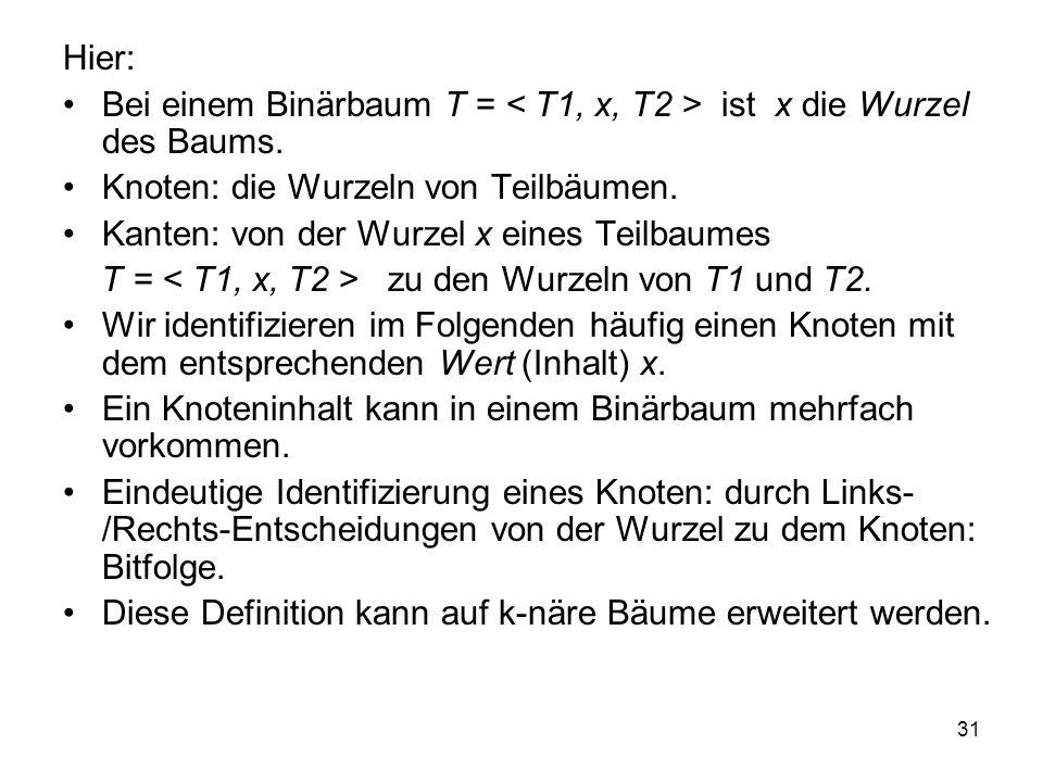 31 Hier: Bei einem Binärbaum T = ist x die Wurzel des Baums. Knoten: die Wurzeln von Teilbäumen. Kanten: von der Wurzel x eines Teilbaumes T = zu den