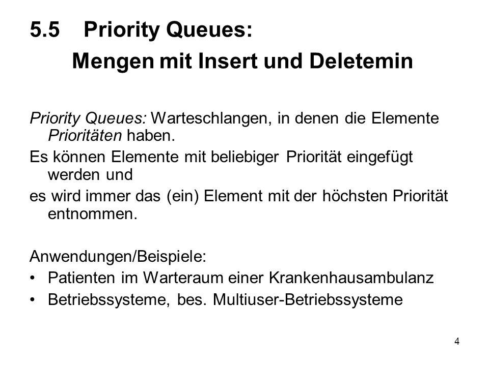 4 5.5 Priority Queues: Mengen mit Insert und Deletemin Priority Queues: Warteschlangen, in denen die Elemente Prioritäten haben. Es können Elemente mi