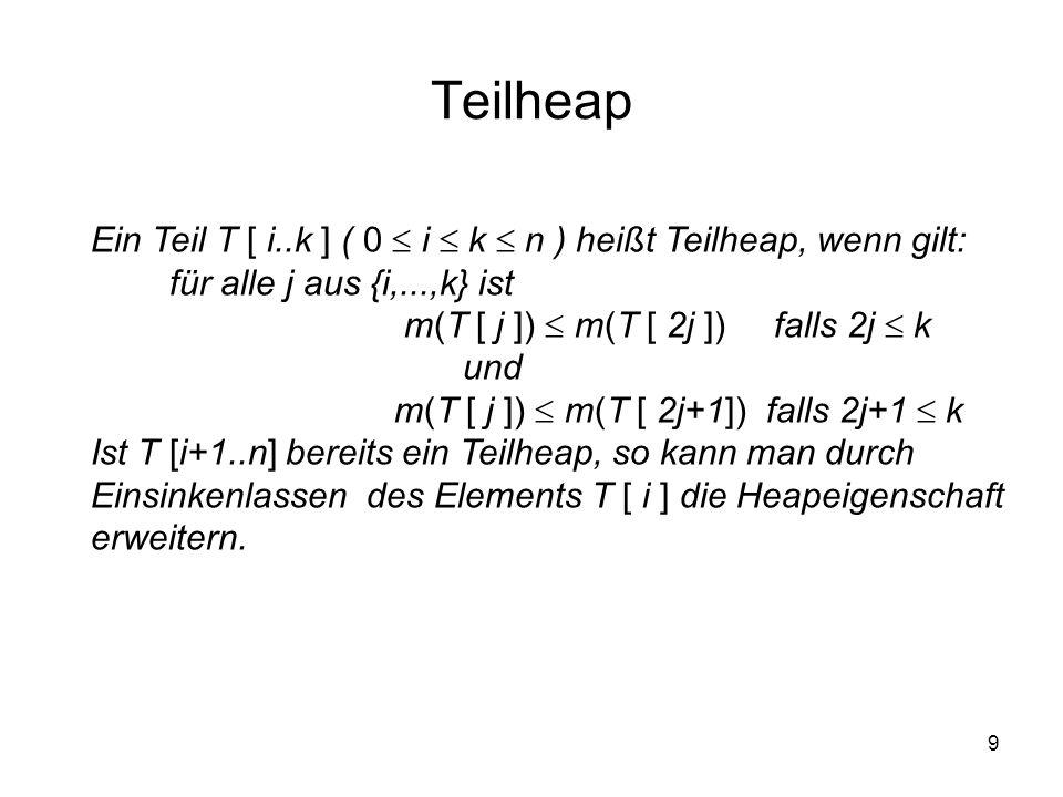 9 Teilheap Ein Teil T [ i..k ] ( 0 i k n ) heißt Teilheap, wenn gilt: für alle j aus {i,...,k} ist m(T [ j ]) m(T [ 2j ]) falls 2j k und m(T [ j ]) m(
