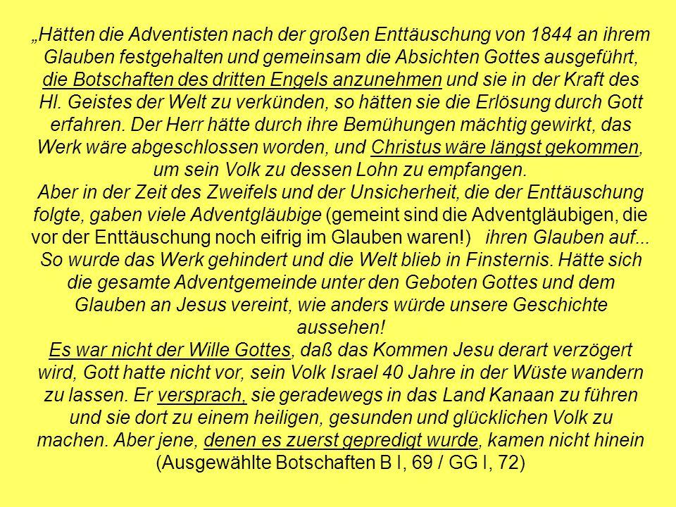 Hätten die Adventisten nach der großen Enttäuschung von 1844 an ihrem Glauben festgehalten und gemeinsam die Absichten Gottes ausgeführt, die Botschaften des dritten Engels anzunehmen und sie in der Kraft des Hl.