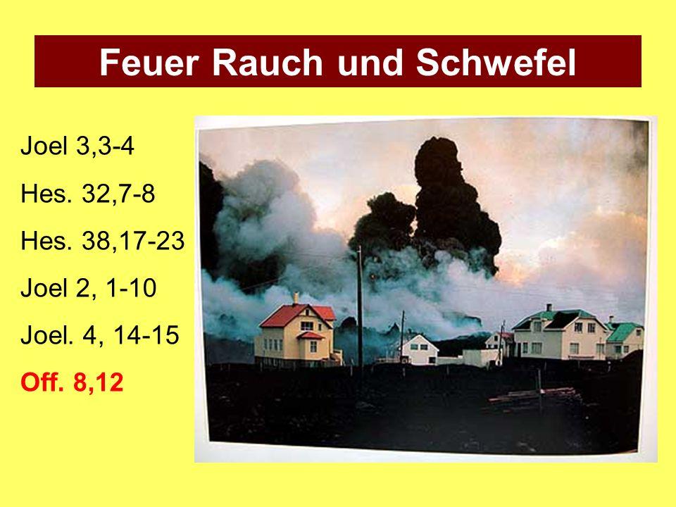 Joel 3,3-4 Hes. 32,7-8 Hes. 38,17-23 Joel 2, 1-10 Joel. 4, 14-15 Off. 8,12 Feuer Rauch und Schwefel
