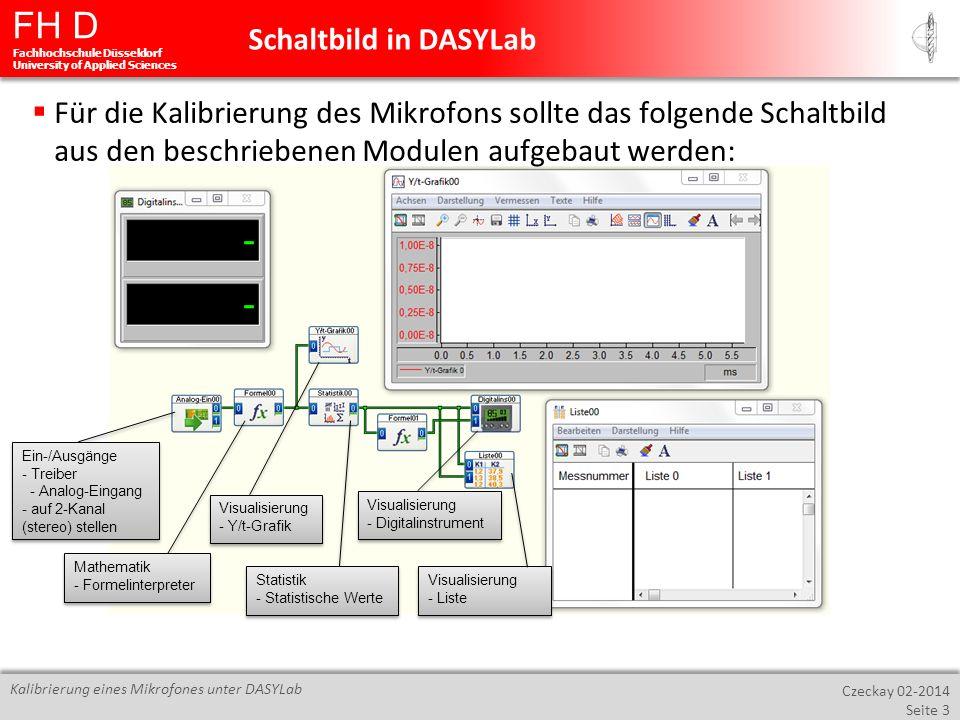 FH D Fachhochschule Düsseldorf University of Applied Sciences Czeckay 02-2014 Seite 4 Kalibrierung eines Mikrofones unter DASYLab In dem Modul Analog-Eingang muss ein weiterer Eingang zugeschaltet werden, da eine Soundkarte immer Stereo angeschlossen sein sollte.