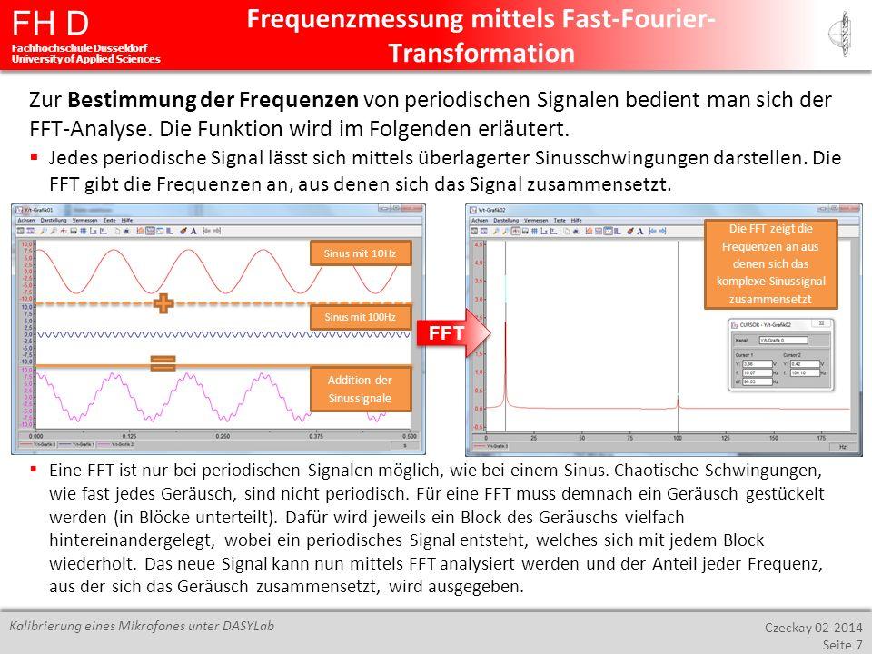 FH D Fachhochschule Düsseldorf University of Applied Sciences Czeckay 02-2014 Seite 8 Kalibrierung eines Mikrofones unter DASYLab Für die Messung einer Frequenz unter DASYLab bedient man sich der FFT-Analyse.