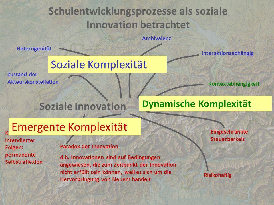 Schulentwicklungsprozesse als soziale Innovation betrachtet Soziale Innovation Zustand der Akteurskonstellation Heterogenität Ambivalenz Interaktionsa