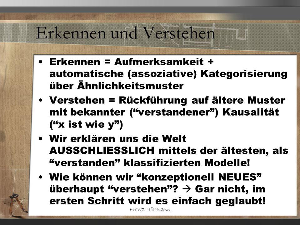 Franz Hörmann Erkennen und Verstehen Erkennen = Aufmerksamkeit + automatische (assoziative) Kategorisierung über Ähnlichkeitsmuster Verstehen = Rückfü