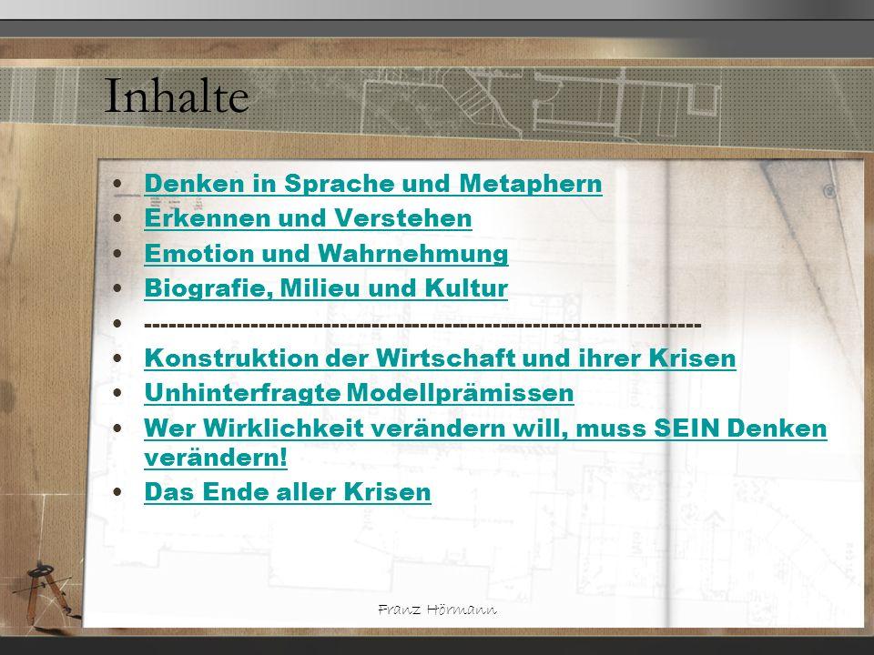 Franz Hörmann Inhalte Denken in Sprache und Metaphern Erkennen und Verstehen Emotion und Wahrnehmung Biografie, Milieu und Kultur --------------------