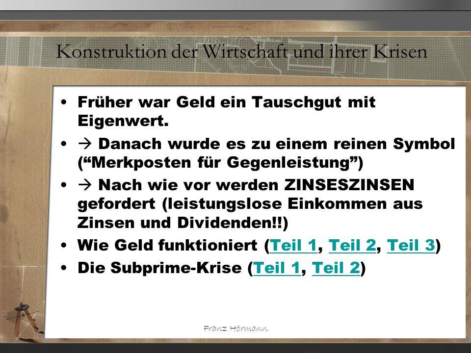 Franz Hörmann Konstruktion der Wirtschaft und ihrer Krisen Früher war Geld ein Tauschgut mit Eigenwert. Danach wurde es zu einem reinen Symbol (Merkpo