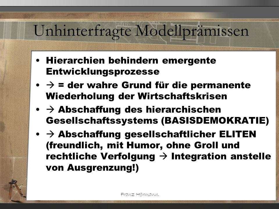 Franz Hörmann Unhinterfragte Modellprämissen Hierarchien behindern emergente Entwicklungsprozesse = der wahre Grund für die permanente Wiederholung de