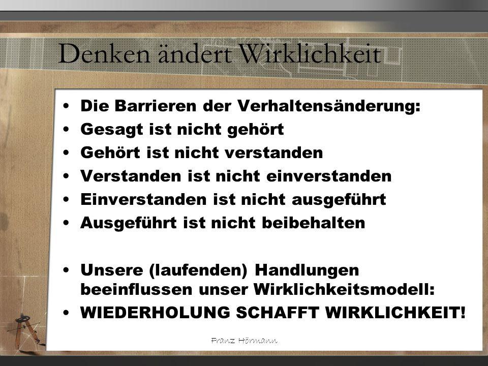 Franz Hörmann Denken ändert Wirklichkeit Die Barrieren der Verhaltensänderung: Gesagt ist nicht gehört Gehört ist nicht verstanden Verstanden ist nich
