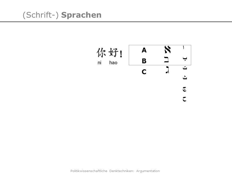Politikwissenschaftliche Denktechniken: Argumentation (Schrift-) Sprachen ا ب ت ث ج ح Chinesisch lesen - leicht gemacht Einfache Sätze lesen lernen -