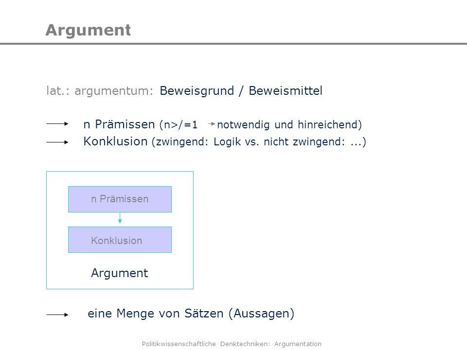 Politikwissenschaftliche Denktechniken: Argumentation Argumentation lat.: argumentum: Beweisgrund / Beweismittel n Prämissen (n>/=1 notwendig und hinr