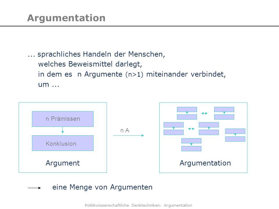 Politikwissenschaftliche Denktechniken: Argumentation Argumentation... sprachliches Handeln der Menschen, welches Beweismittel darlegt, in dem es n Ar