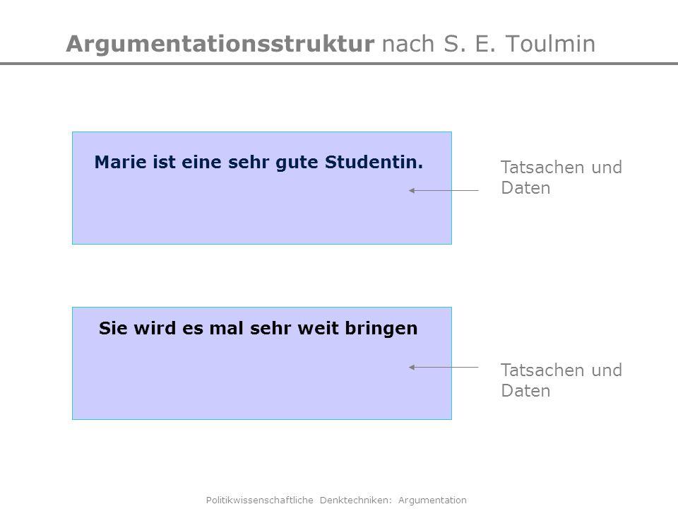 Politikwissenschaftliche Denktechniken: Argumentation Argumentationsstruktur nach S. E. Toulmin Tatsachen und Daten Marie ist eine sehr gute Studentin
