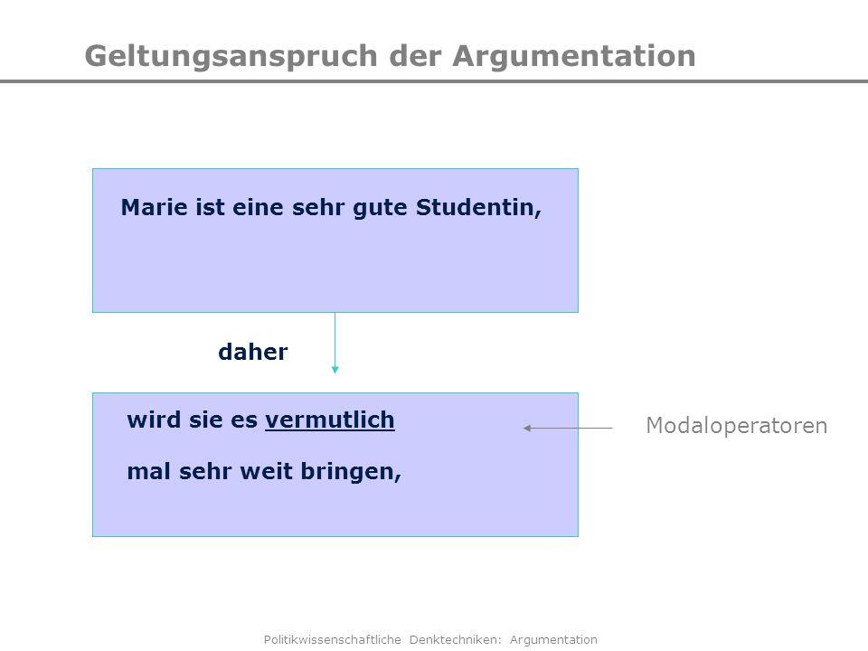 Politikwissenschaftliche Denktechniken: Argumentation Geltungsanspruch der Argumentation Marie ist eine sehr gute Studentin, wird sie es vermutlich ma
