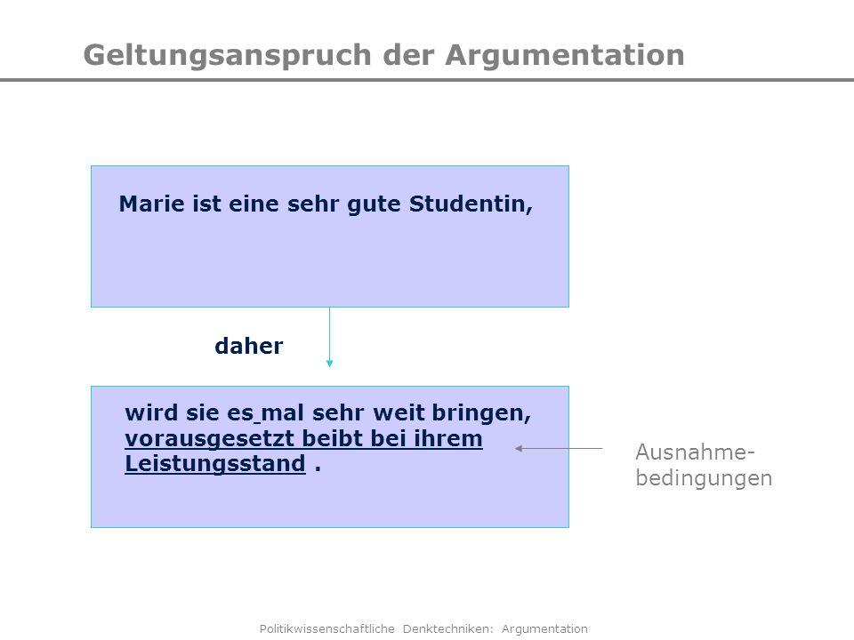Politikwissenschaftliche Denktechniken: Argumentation Geltungsanspruch der Argumentation Marie ist eine sehr gute Studentin, wird sie es mal sehr weit