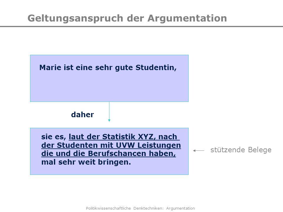 Politikwissenschaftliche Denktechniken: Argumentation Geltungsanspruch der Argumentation Marie ist eine sehr gute Studentin, sie es, laut der Statisti