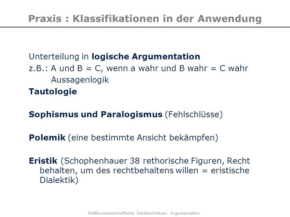 Politikwissenschaftliche Denktechniken: Argumentation Praxis : Klassifikationen in der Anwendung Unterteilung in logische Argumentation z.B.: A und B