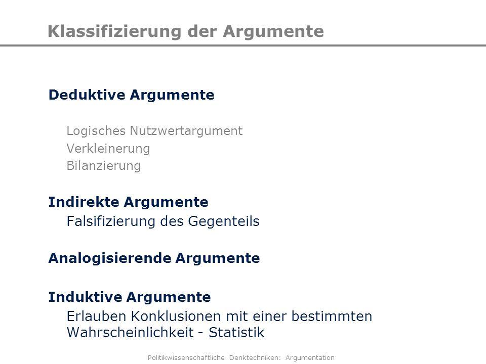 Politikwissenschaftliche Denktechniken: Argumentation Klassifizierung der Argumente Deduktive Argumente Logisches Nutzwertargument Verkleinerung Bilan