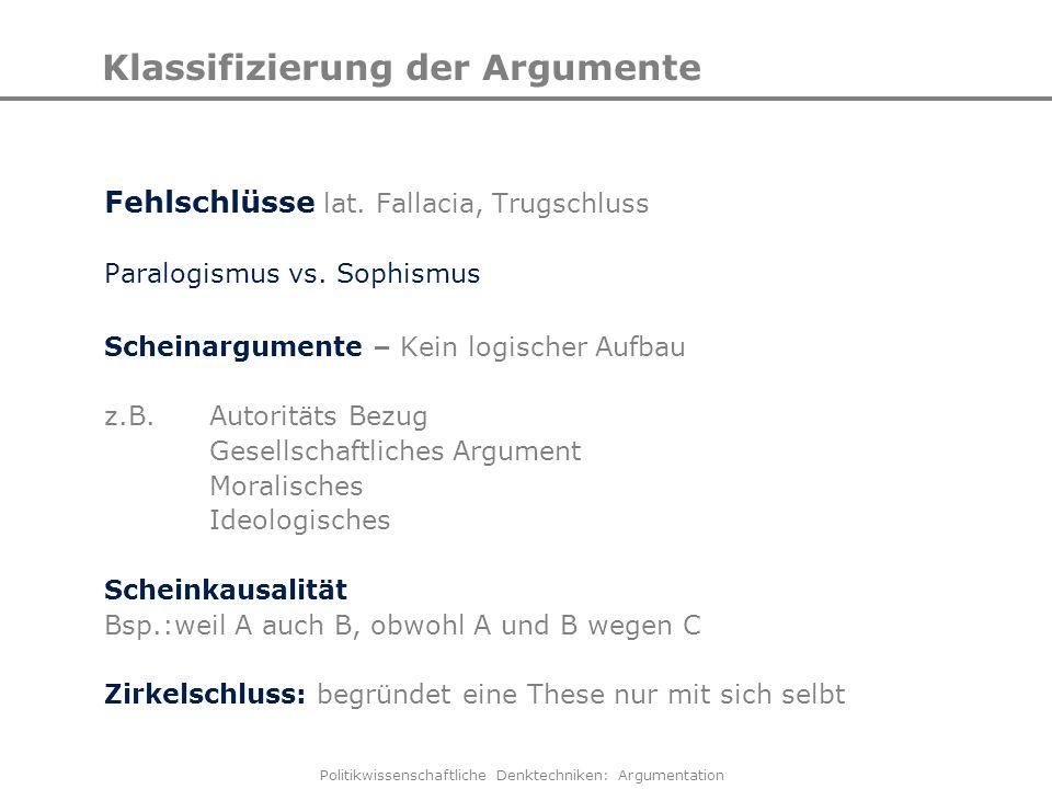 Politikwissenschaftliche Denktechniken: Argumentation Klassifizierung der Argumente Fehlschlüsse lat. Fallacia, Trugschluss Paralogismus vs. Sophismus