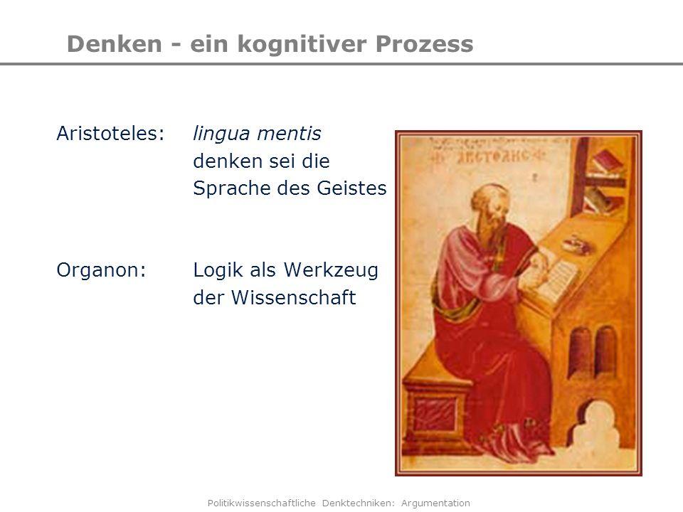 Politikwissenschaftliche Denktechniken: Argumentation Denken - ein kognitiver Prozess Aristoteles: lingua mentis denken sei die Sprache des Geistes Or