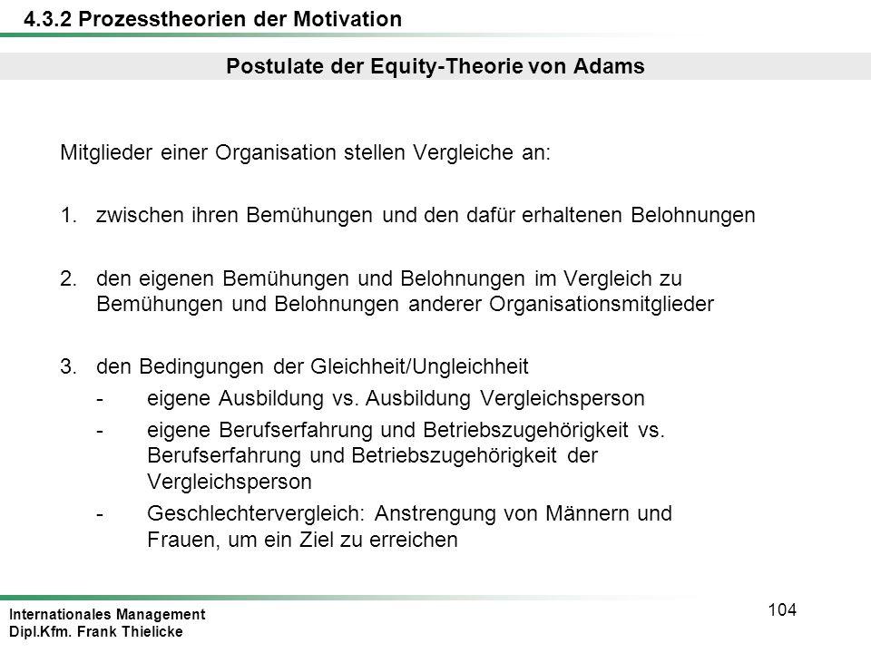 Internationales Management Dipl.Kfm. Frank Thielicke 104 Postulate der Equity-Theorie von Adams Mitglieder einer Organisation stellen Vergleiche an: 1