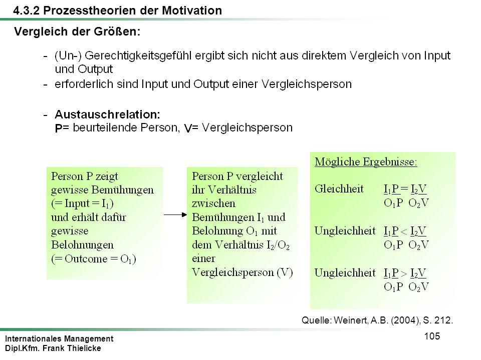Internationales Management Dipl.Kfm. Frank Thielicke 105 Vergleich der Größen: Quelle: Weinert, A.B. (2004), S. 212. 4.3.2 Prozesstheorien der Motivat