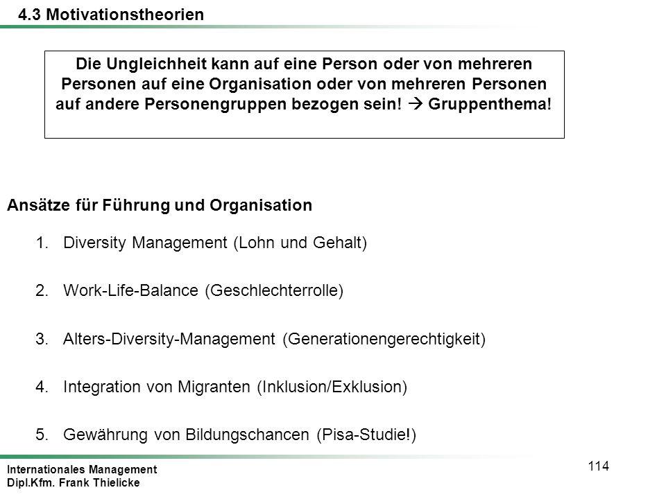 Internationales Management Dipl.Kfm. Frank Thielicke 114 Ansätze für Führung und Organisation 1.Diversity Management (Lohn und Gehalt) 2.Work-Life-Bal