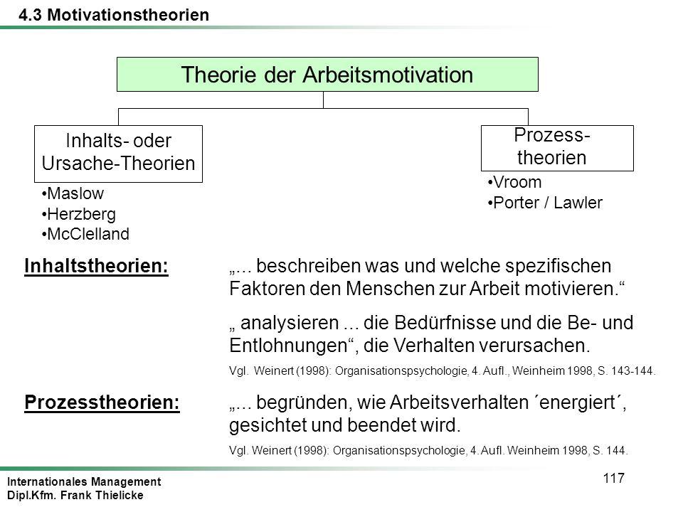 Internationales Management Dipl.Kfm. Frank Thielicke 117 Theorie der Arbeitsmotivation Inhalts- oder Ursache-Theorien Prozess- theorien Maslow Herzber