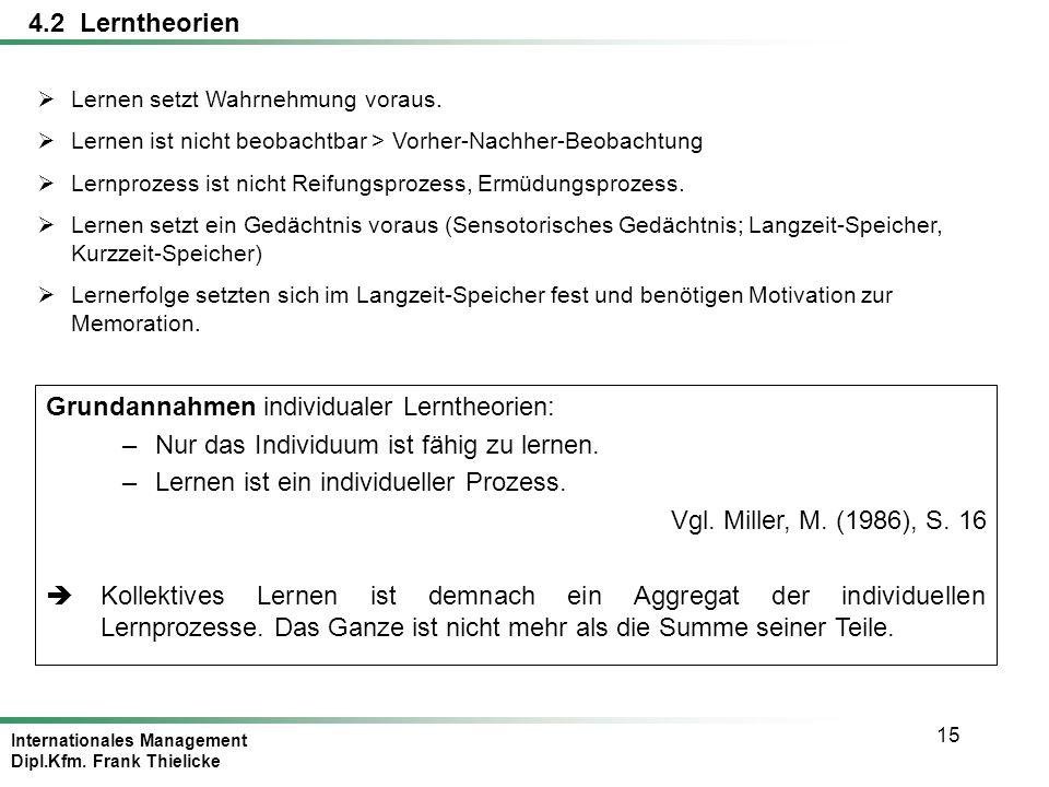 Internationales Management Dipl.Kfm. Frank Thielicke 15 4.2 Lerntheorien Lernen setzt Wahrnehmung voraus. Lernen ist nicht beobachtbar > Vorher-Nachhe