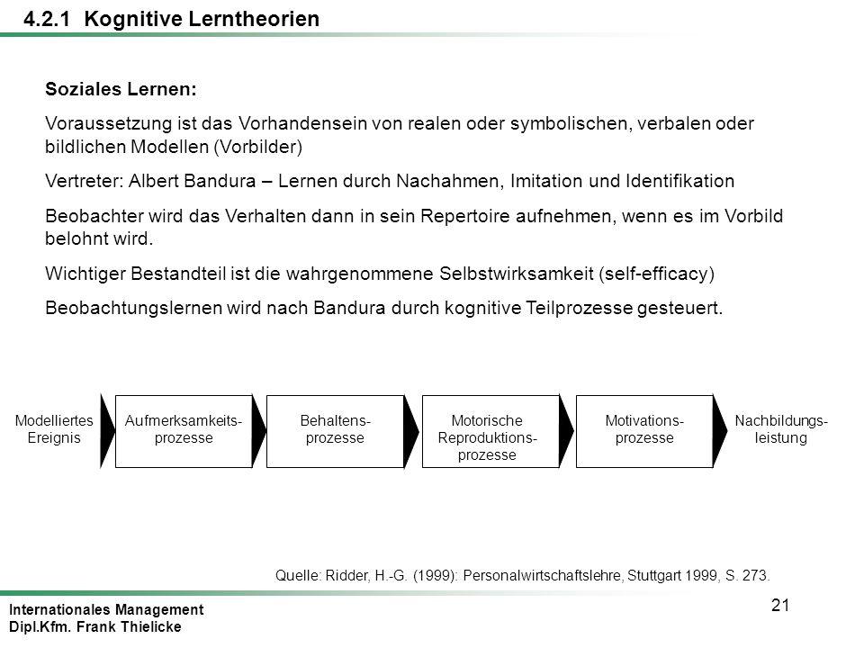 Internationales Management Dipl.Kfm. Frank Thielicke 21 4.2.1 Kognitive Lerntheorien Soziales Lernen: Voraussetzung ist das Vorhandensein von realen o