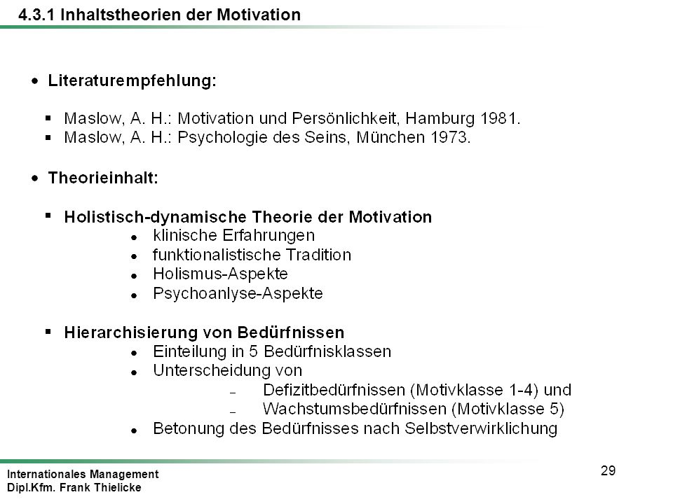 Internationales Management Dipl.Kfm. Frank Thielicke 29 4.3.1 Inhaltstheorien der Motivation