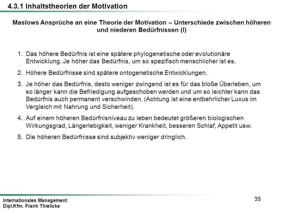 Internationales Management Dipl.Kfm. Frank Thielicke 35 Maslows Ansprüche an eine Theorie der Motivation – Unterschiede zwischen höheren und niederen
