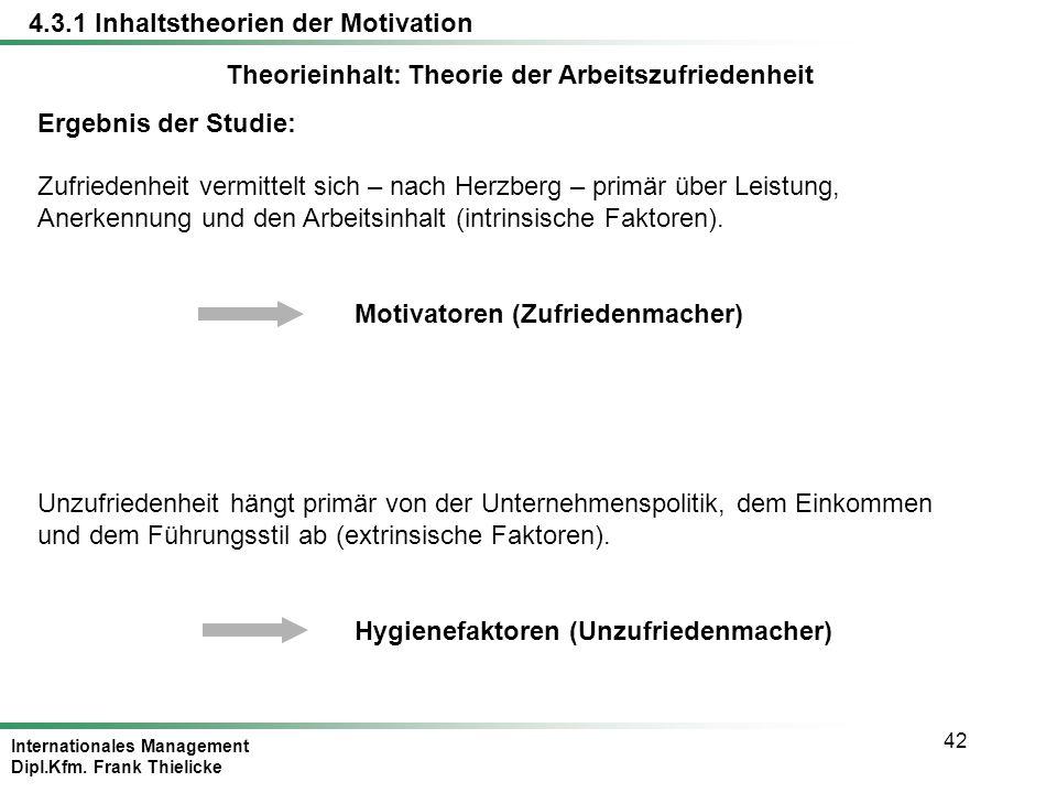 Internationales Management Dipl.Kfm. Frank Thielicke 42 Theorieinhalt: Theorie der Arbeitszufriedenheit Ergebnis der Studie: Zufriedenheit vermittelt