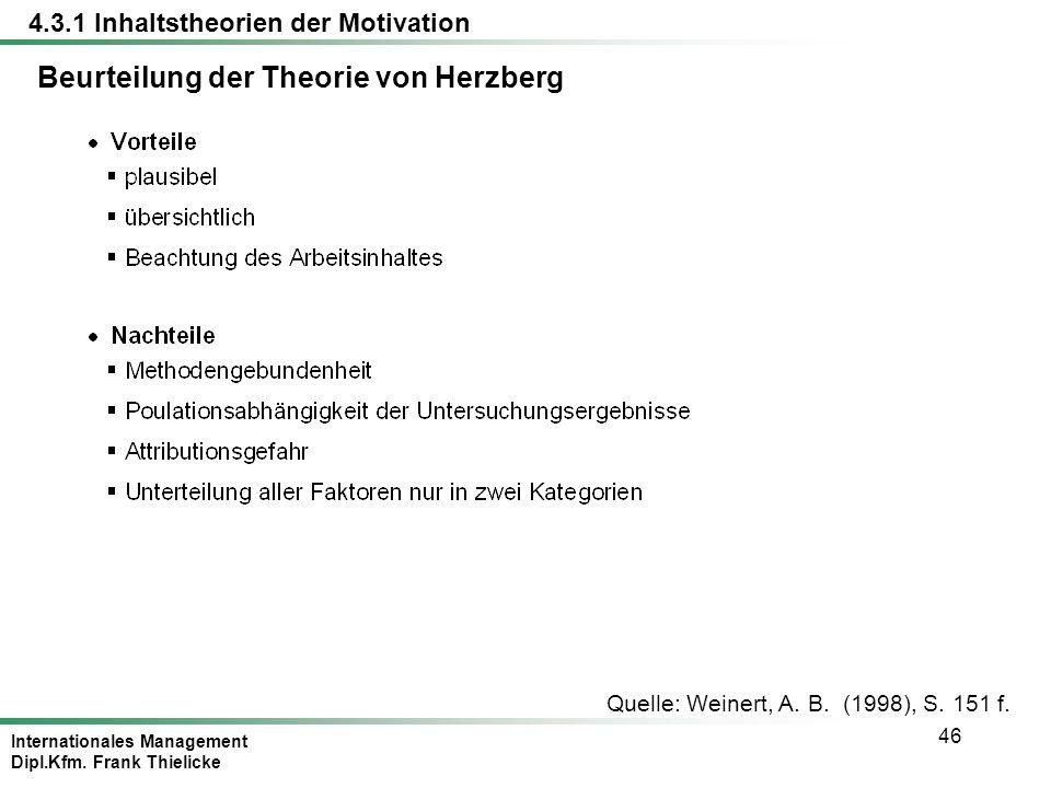 Internationales Management Dipl.Kfm. Frank Thielicke 46 Quelle: Weinert, A. B. (1998), S. 151 f. Beurteilung der Theorie von Herzberg 4.3.1 Inhaltsthe