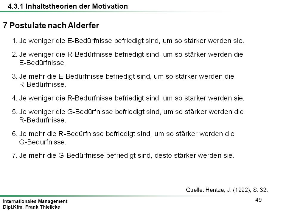 Internationales Management Dipl.Kfm. Frank Thielicke 49 7 Postulate nach Alderfer 4.3.1 Inhaltstheorien der Motivation