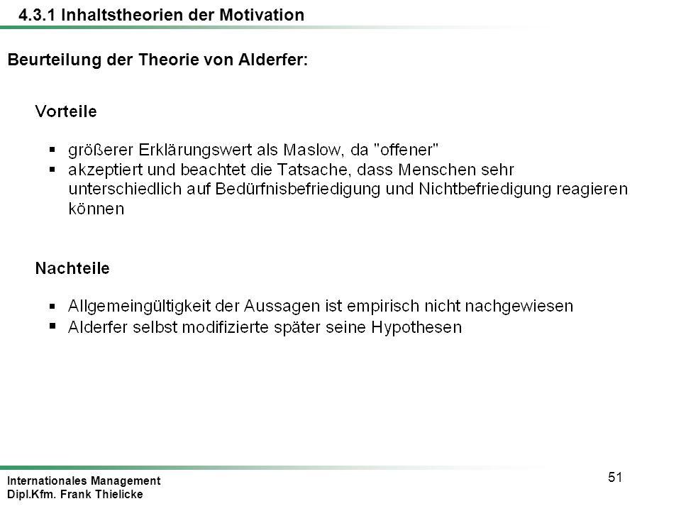 Internationales Management Dipl.Kfm. Frank Thielicke 51 Beurteilung der Theorie von Alderfer: 4.3.1 Inhaltstheorien der Motivation