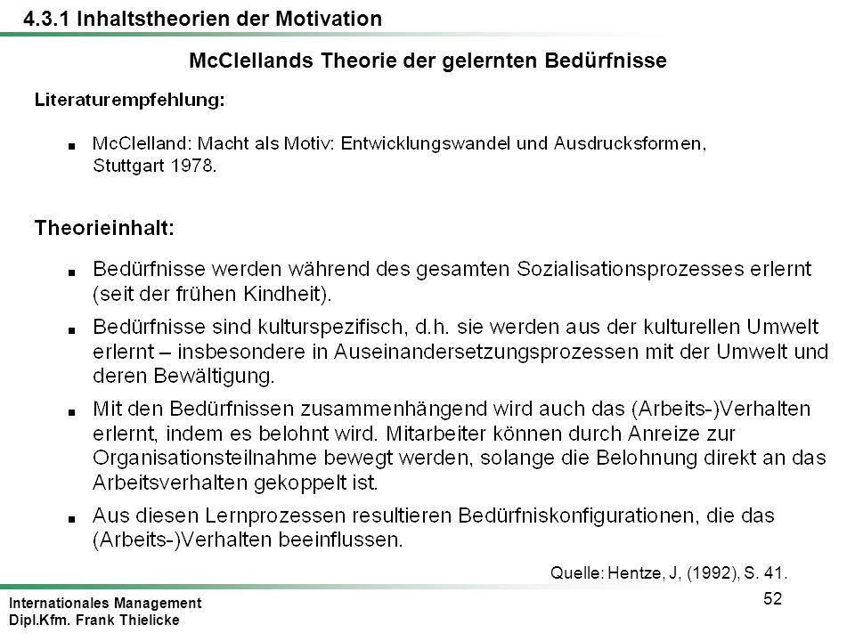 Internationales Management Dipl.Kfm. Frank Thielicke 52 Quelle: Hentze, J, (1992), S. 41. McClellands Theorie der gelernten Bedürfnisse 4.3.1 Inhaltst