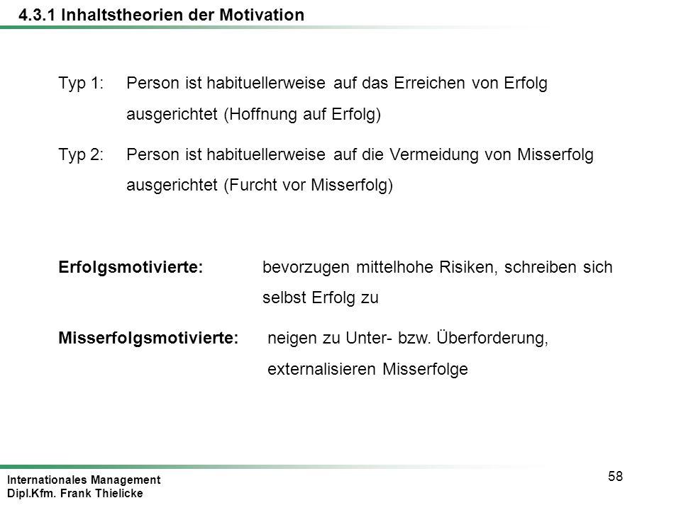 Internationales Management Dipl.Kfm. Frank Thielicke 58 Typ 1:Person ist habituellerweise auf das Erreichen von Erfolg ausgerichtet (Hoffnung auf Erfo