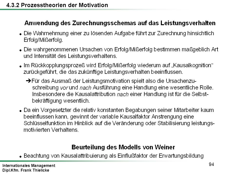 Internationales Management Dipl.Kfm. Frank Thielicke 94 4.3.2 Prozesstheorien der Motivation