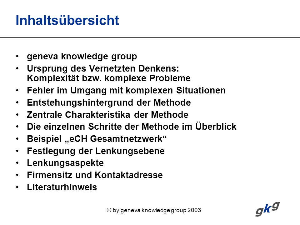 © by geneva knowledge group 2003 Inhaltsübersicht geneva knowledge group Ursprung des Vernetzten Denkens: Komplexität bzw. komplexe Probleme Fehler im