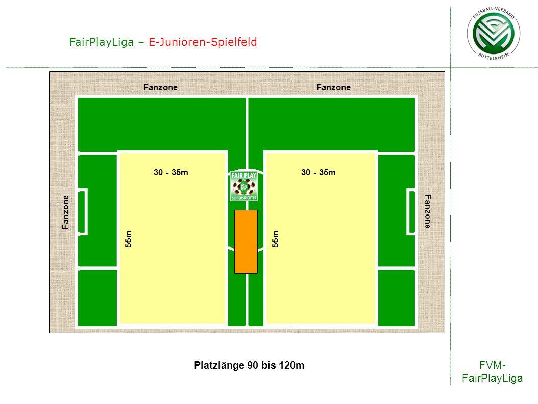 FVM- FairPlayLiga FairPlayLiga – E-Junioren-Spielfeld Platzlänge 90 bis 120m Fanzone 30 - 35m 55m 30 - 35m 55m
