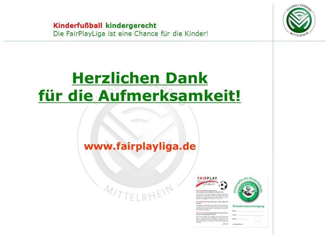 Herzlichen Dank für die Aufmerksamkeit! www.fairplayliga.de Kinderfußball kindergerecht Die FairPlayLiga ist eine Chance für die Kinder!