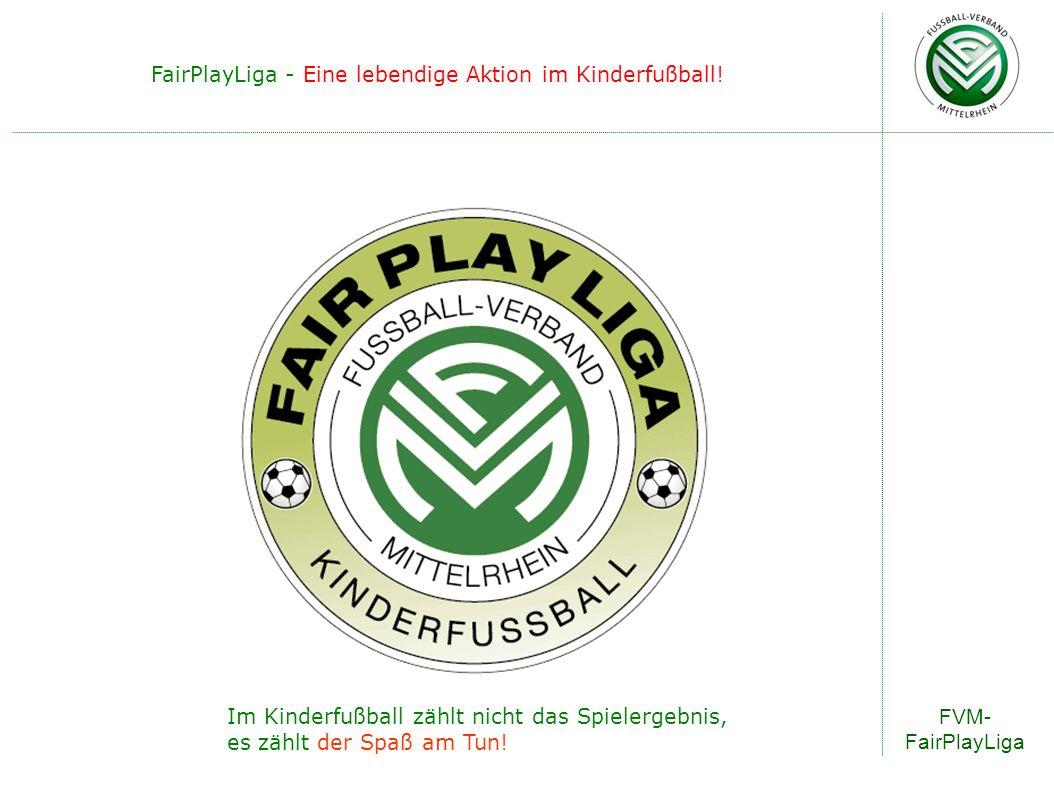 Im Kinderfußball zählt nicht das Spielergebnis, es zählt der Spaß am Tun! FairPlayLiga - Eine lebendige Aktion im Kinderfußball! FVM- FairPlayLiga